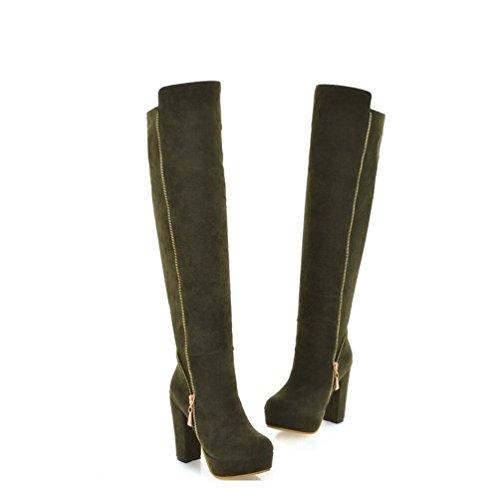 Ei&iLI Bottes printemps femmes / hiver Fashion bottes en similicuir extérieur / occasionnel , army green , 43