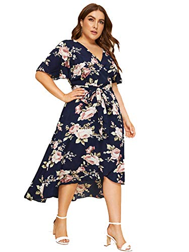 Milumia Women Plus Size Surplice V Neck Floral High Waist Bohemian Dress Navy ()