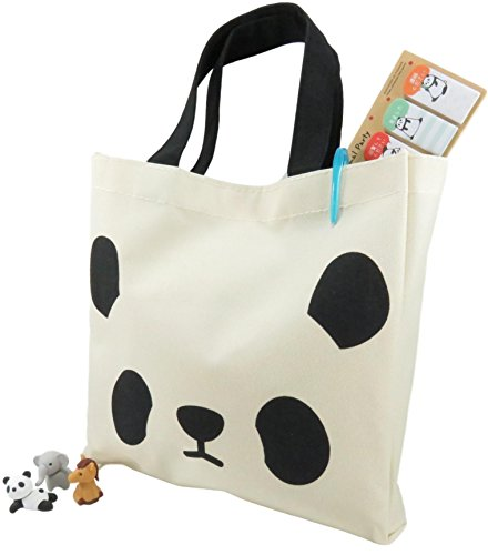 Panda Tote Bag Purse and Page Markers Stickers and 3 Puzzle Mini Erasers (cute animals are actually erasers) - The Perfect 5 Piece Set for Kids