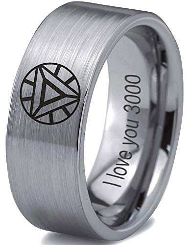 Zealot Jewelry Tungsten Quote I Love You 3000 Engraved Band Ring 8mm Men Women Comfort Fit Gray Flat Cut Brushed Polished Size 11