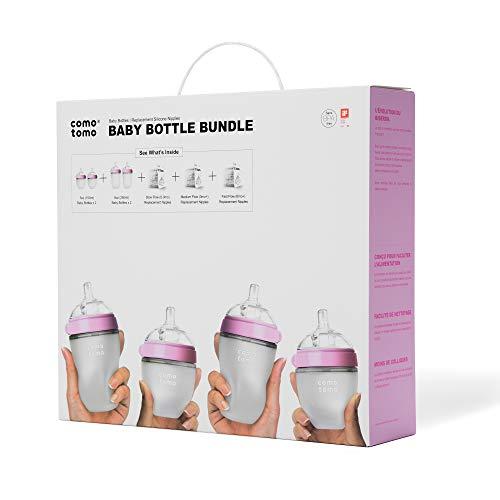 (Comotomo Baby Bottle Bundle, Pink)