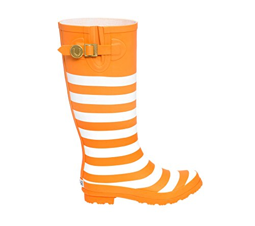 Stivali Da Pioggia Luminosi Arancione E Bianchi Lh