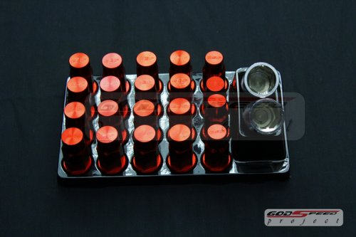 Godspeed Type-4 Wheel Rim Racing Lug Nuts 50mm 20 Piece W / Lock M12 X 1.5 Red Color Fit ALL Mitsubishi , 3000gt , 3000gt Vr-4 , Eclipse GST GSX Gs Gt Spyder Rs , EVO Ix EVO Viii , EVO 7/8/9 , Galant Vr4 , Galant , Lancer , Lancer Sportback , Mirage , Outlander , Turbo -