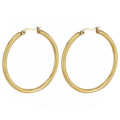 12Mm-80Mm Big Circles Hoop Earring Gold/Silver 316L Stainless Steel Hoop Earring Classic Round Creoles Women Jewellery Party 12mm Silver (Yoville Game)