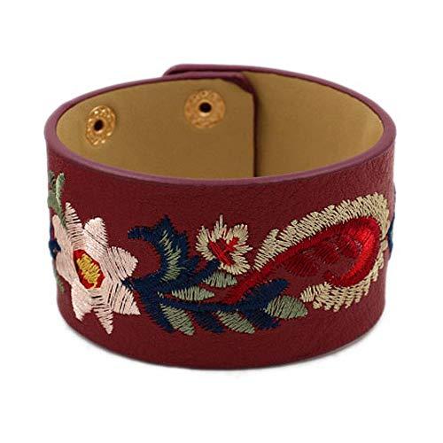 L&N Rainbery Bohemia Embroidery Flower Cuff Bracelet Female Fashion Wide PU Leather Bracelets & Bangles Women Jewelry (Burgundy) (Burgundy Jewelry Leather)