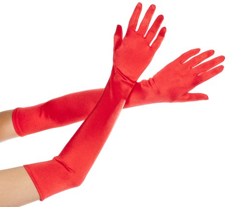 MUSIC LEGS Women's Extra Long Satin Gloves, Red, One Size - Red Extra Long Satin Gloves