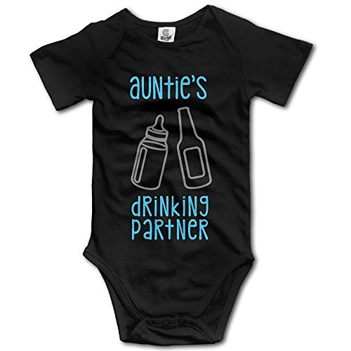 RS-pthrAA Auntie's Drinking Partner, Unisex Baby Summer Comfortable Climbing Clothes Romper Jumpsuit One-Pieces Bodysuit Black]()