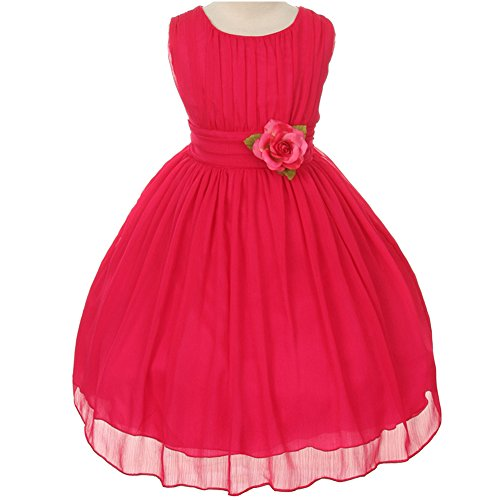 Fuchsia Chiffon Zipper (Big Girls Adorable Ruched Round Neck Yoryu Chiffon Flower Girl Dress Fuchsia - Size 10)