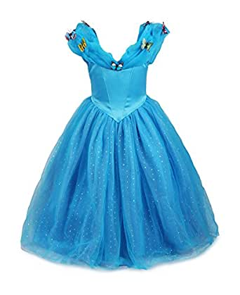 ReliBeauty – Difraces Princesa Cenicienta Mariposas Maxi Fancy Vestido para niñas