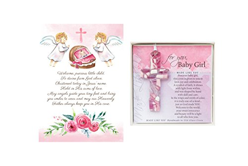 Christening Gifts For Girls Gift Set Pink Handmade in USA Glass Cross for Baby Girls and Made in USA Baptism Prayer Card for Girls Great Baptism Gifts…