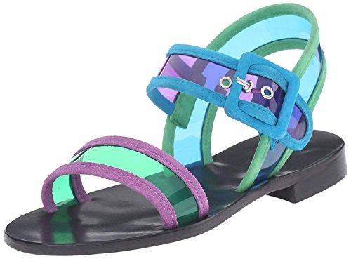 Studio Pollini Women's SA16712C01 Flat Sandal, Blue/Violet/Green/Turquoise/Lilac, 40 EU/10 M US