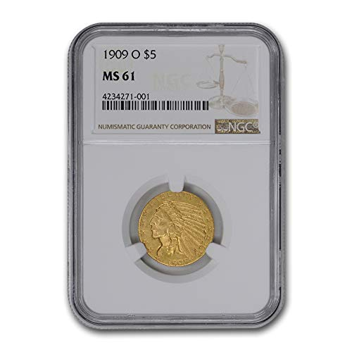 1909 O $5 Indian Gold Half Eagle MS-61 NGC $5 MS-61 NGC