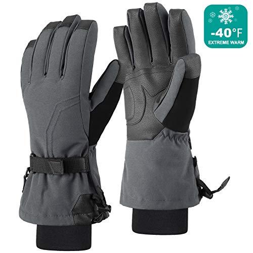 Andake Down Ski Gloves Men Waterproof Winter Snow Gloves for Skiing Snowboarding Hiking Riding Skating (L/XL, Gray) (Ski Gray Glove)