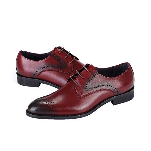Oxford Chaussures Pour Hommes Wingtip Cuir Lacets Robe Formelle Derby Chaussures Par Santimon Noir Rouge Rouge