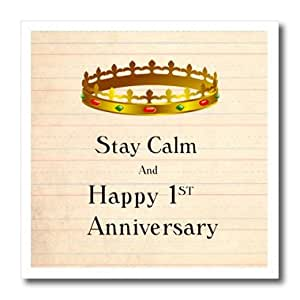 ht_162893_1 Florene Numbers Symbols And Sayings - Stay Calm And Happy First Anniversary On Photo Of Paper - Iron on Heat Transfers - 8x8 Iron on Heat Transfer for White Material