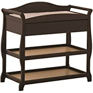 Storkcraft Aspen Changing Table with Drawer, Espresso, Sleigh Design Changing Table with Changing Pad and Safety Strap, Oversized Drawer and Two Storage Shelves