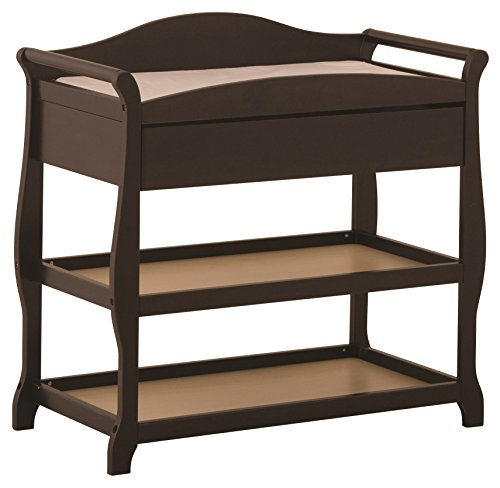 - Storkcraft Aspen Changing Table with Drawer, Espresso, Sleigh Design Changing Table with Changing Pad and Safety Strap, Oversized Drawer and Two Storage Shelves