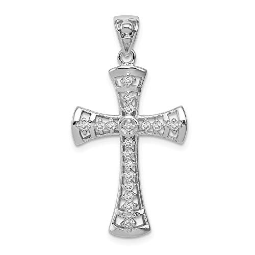 925 Sterling Silver Cubic Zirconia Cz Cross Religious Pendant Charm Necklace Fine Jewelry Gifts For Women For Her ()