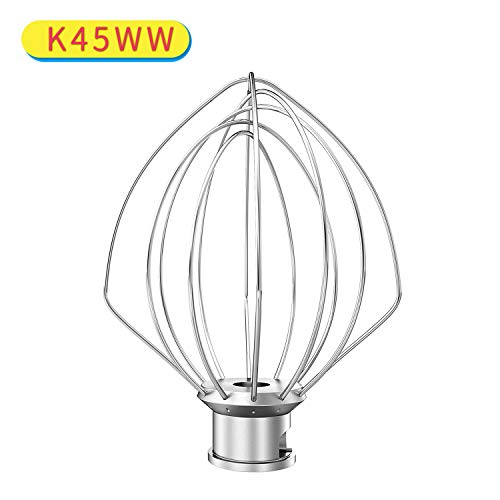 Decorlife K45WW Wire Whip Compatible with KitchenAid Tilt-Head Stand Mixer Beater KSM15 KSM110 KSM103 KSM75 K45 KSM90 Stand Mixers Stainless Steel Egg Cream Stirrer Heavy Cream Beater