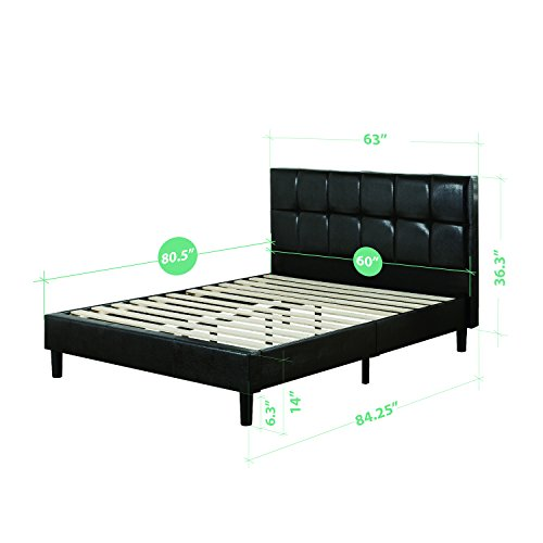 Zinus Grand Faux Leather Upholstered Square Detailed Premium Platform Bed with Wooden Slat Support, Queen