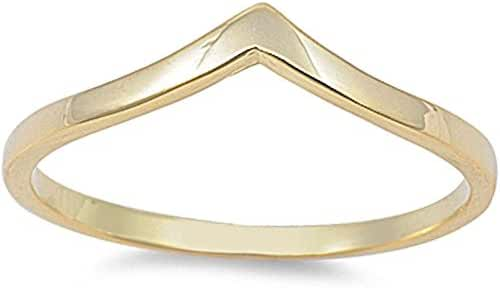 Sterling Silver V-Shape Chevron Stackable Thumb Ring Fashion Ring 3-13 COLORS AVAILABLE