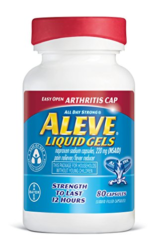 Aleve Liquid Gels with Easy Open Arthritis Cap, Naproxen Sodium Capsules 220 mg (NSAID), Pain Reliever/Fever Reducer, Fast Pain Relief, 80 Count ()