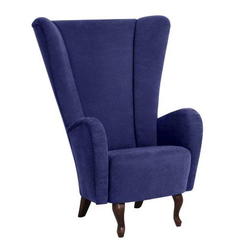 Sessel Aurora, weiches Flachgewebe in der Farbe blau