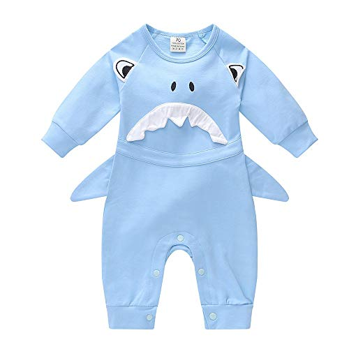 Birdfly Cute Toddler Baby Infant Boy Girl Shark Style Cosplay Photography Romper Clothes Set (6M, Light Blue)