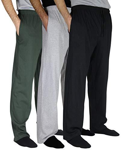 (Real Essentials 3 Pack:Men's Cotton Jersey Knit Sleep Pants Lounge Wear Pajamas PJ-Set 1,S)
