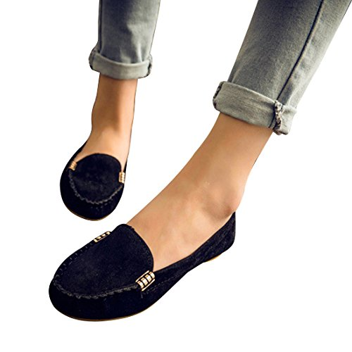 Susanny New Round Toe Women's Ballet Flats Fashion Cute Slip On Low Heel Driving Shoes Suede Casual Black Boat Shoes 7.5 B (M) US