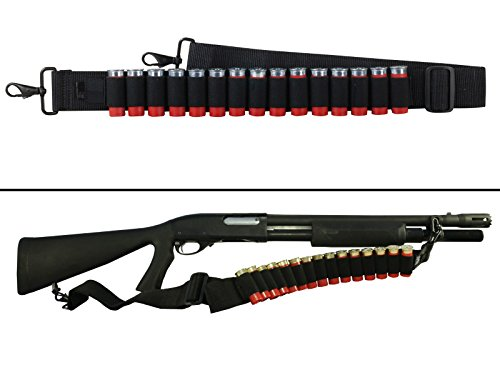 Ultimate Arms Gear Stealth Black 15 Round Shotshell Shot Shell Ammunition Ammo Reload Carrier Strap For Winchester 1200 / 1300 /Super X SXP X3 12 & 20 Gauge Shotgun Rounds