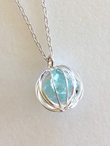 Aquamarine Cage Necklace, Blue Aquamarine Gemstones, Raw Natural Aquamarine Nuggets, March Birthstone, Sterling Silver.
