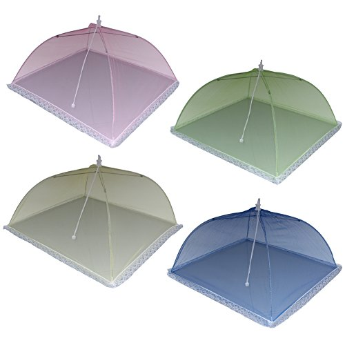Zicome Colorful Mesh Food Cover Tents, Pop-up and Collapsible, 4 Pack, 17 x 17 x 11