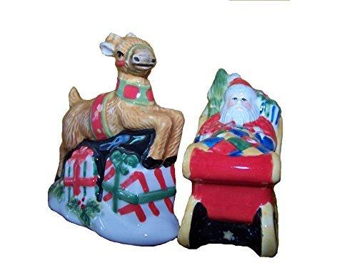 Santa Sleigh Reindeer The Night Before Christmas Salt & Pepper Shaker Set -