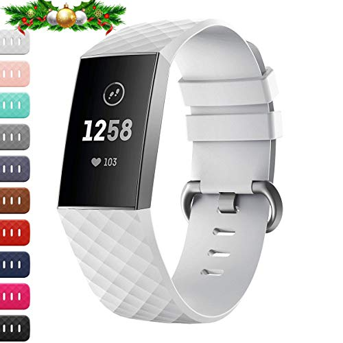 Wristbands Cars (Carhope Compatible Fitbit Charge 3 Bands, Soft Silicone Replacement Band for Fitbit Charge 3, Charge 3 SE, Newest Adjustable Sport Strap Smartwatch Fitness Wristbands (White, Small))