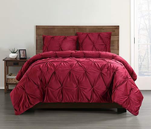 Truly Soft Everyday Red Velevet Pintuck Pleated Velvet Winter Duvet Cover, King (Cover Duvet Red Velvet)
