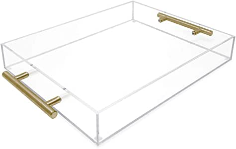 Isaac Jacobs Clear Acrylic Serving Tray (11x14) withGold MetalHandles, Spill-Proof, Stackable Organizer, Food & Drinks Server, Indoors/Outdoors, Lucite Storage Décor (11x14, Clear with Gold Handle)