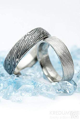 Handmade Damascus Wedding Band - Custom Made - Stainless Steel Ring for Women and Men - Domed or Flat Simple Band with Unique Pattern - Prima Water