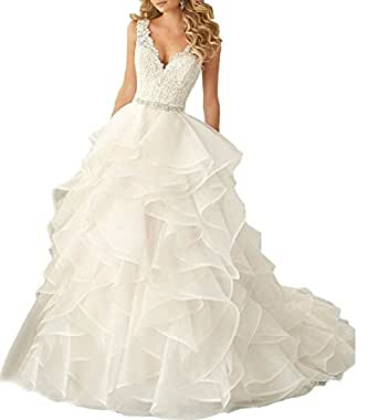 XMY Double V Neck Lace Ball Gown Wedding Dress for Women Puffy Bride Bridal Gown