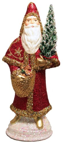 Pinnacle Peak Trading Company Schaller Red and Gold Glitter Santa German Christmas Paper Mache Candy -
