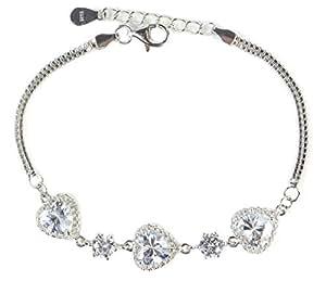 Gran bastante S925 plata esterlina de los corazones de las mujeres de la pulsera de amor joyas zirconia cúbico (18-22cm)