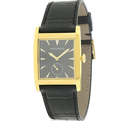 Men's Heritage Black Leather Band Steel Case Sapphire Crystal Swiss Quartz Analog Watch - Movado 3650049