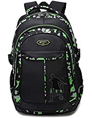 Zhierna New Leisure Travel Bag Nylon Backpack Male Fashion Computer Bag Female School Bag Middle School Student Bag (Color : Black and green)