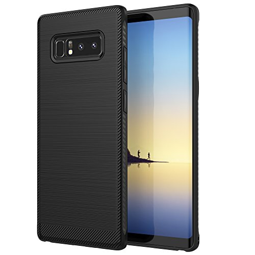 Note 8 Case, Galaxy Note 8 Case, OTOLIN Brushed Metal Carbon Fiber TPU Impact Shock-Absorbent Case for Samsung Galaxy Note 8 (2017) - Black