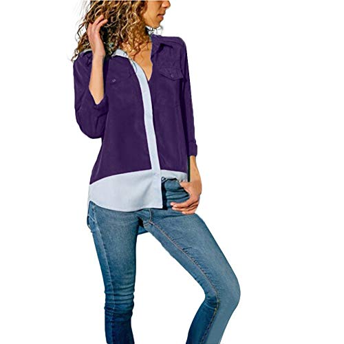 (Womens Tops On Sale - WEUIE Womens Casual Long Sleeve Color Block Pockets Button T Shirts Tops Blouse(XL, Z09))