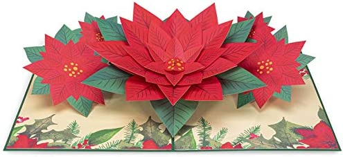 Paperlove Poinsettia Flower Pop Up Christmas Card Handmade 3d Popup Greeting Cards For Winter Christmas Holiday Xmas Gift All Occasion 5 X 7 Amazon Sg Office School Supplies