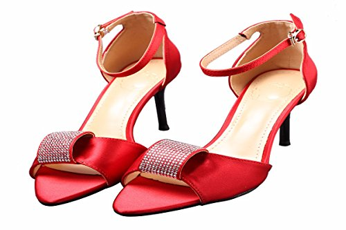 Moda Di Donna Di Rosso 8Cm Fibbie Scarpe Le Pesce da gules Tacco HBDLH Da Di Una donna scarpe Elegante Raso bell'aspetto Alto Sandali Scarpe Bocca Pd6Wg7q