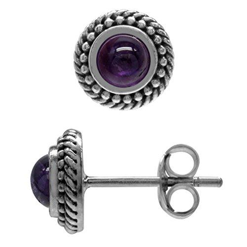 Style Amethyst Cabochon Earrings - Cabochon Amethyst 925 Sterling Silver Rope Bali/Balinese Style Stud Earrings