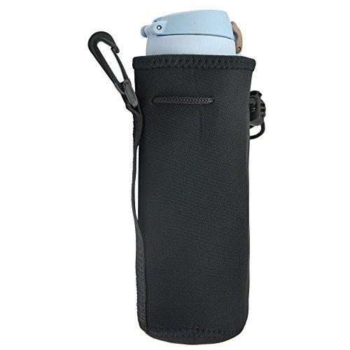 Blue ELF Neoprene Water Bottle Sleeve Bag Insulator Cooler with Handy Drawstring Tops - Black
