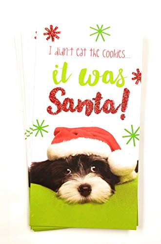 Christmas Money or Gift Card Holder Cards - Set of 8 with Metallic/Glitter Accents (Santa Dog)